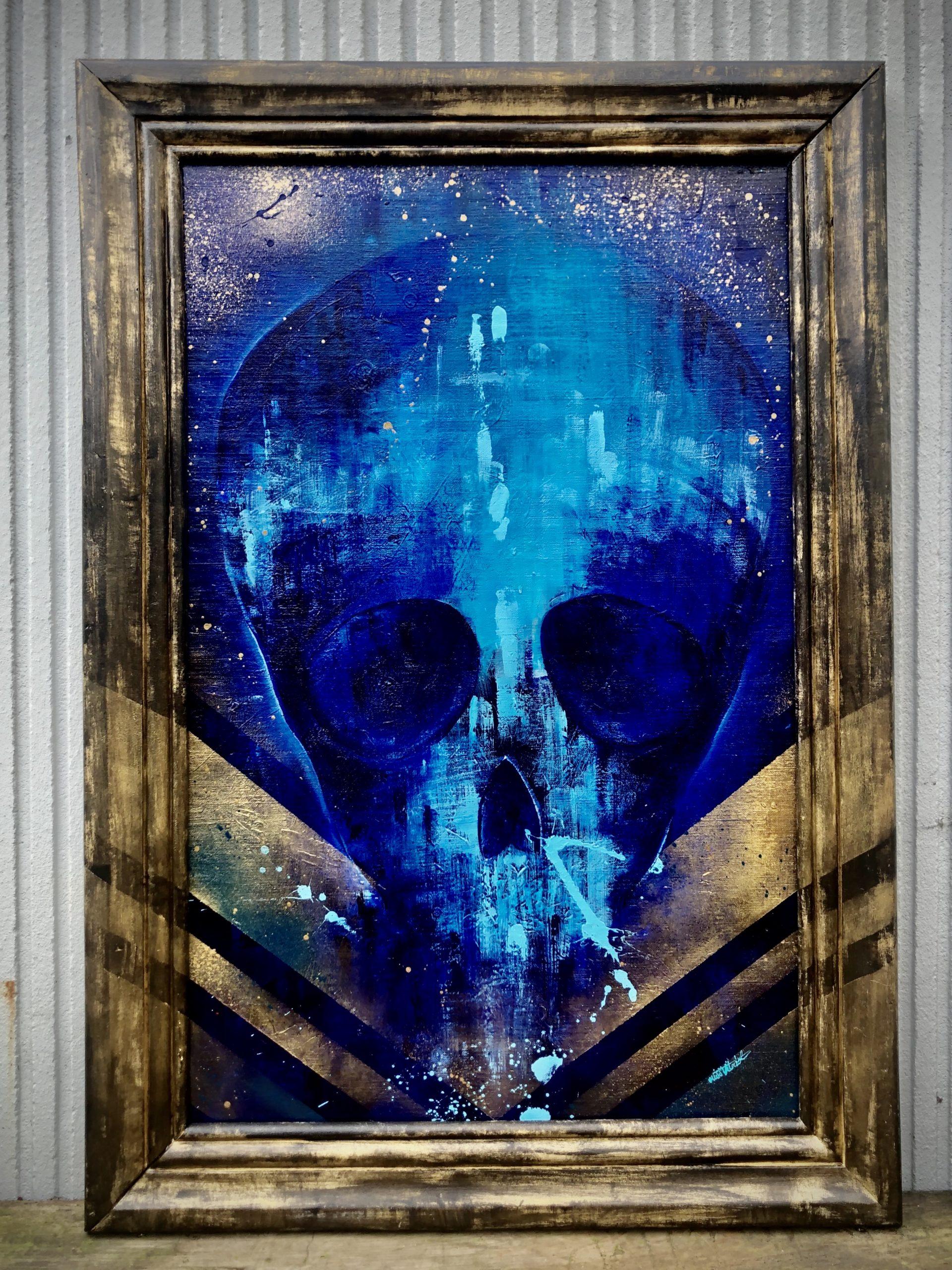 Peinture sur Toile Neon Blue Skull